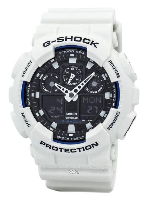 Casio Ga 100b 7a casio g shock world time white analog digital ga 100b 7a