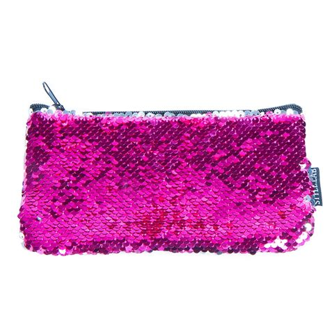 Pink Pouch pink silver magic sequin mini pencil pouch
