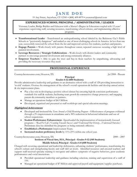 resume and vice principal sle school principal