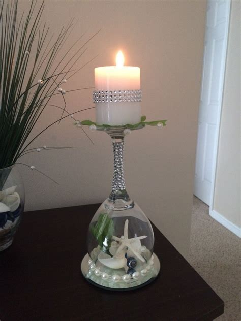Beach wedding seashell wine glass candle holder by