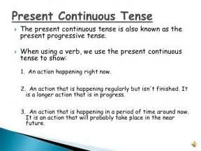 present continuous verbs