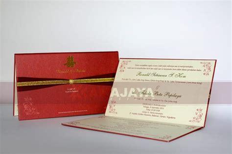 undangan 喜喜 hardcover merah chinese pita satin dan pita emas