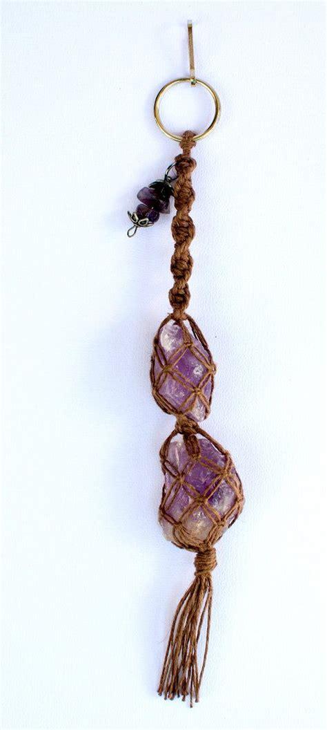 Macrame Keychain - healing amethyst gemstone keychain by jleegypsy 16 00