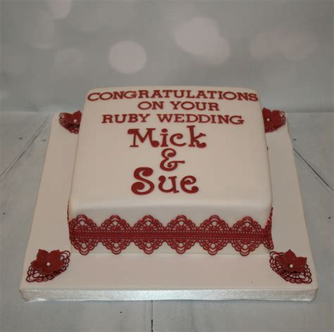 Ruby Wedding Cakes by Square Ruby Wedding Cake