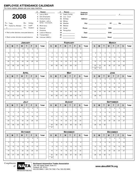 Printable Employee Attendance Calendar Printable Calendar Templates 2018 2018 Attendance Calendar Template