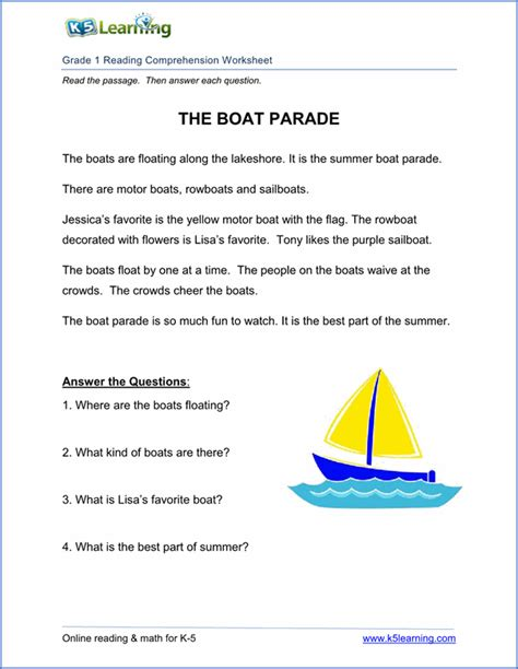 K5 Learning Reading Worksheets printables reading comprehension for exercises