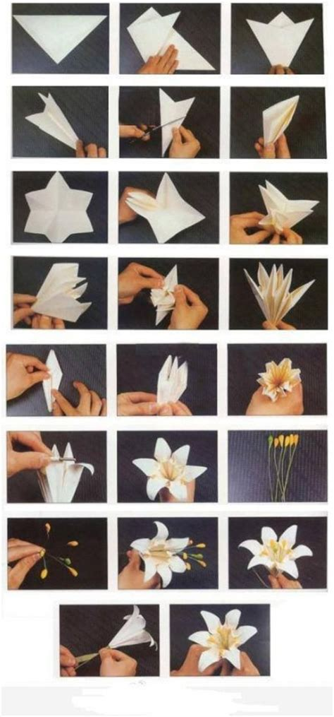 Diy Paper Crafts Tutorials - how to fold origami paper craft blooming flowers step