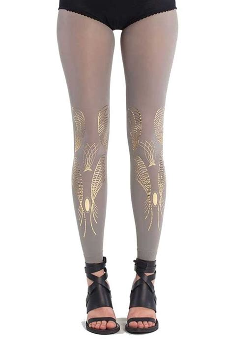 gold pattern leggings summer trend galaxy print footless tights grey gold by