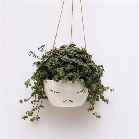 face planter white ceramic hanging planter face plant pot