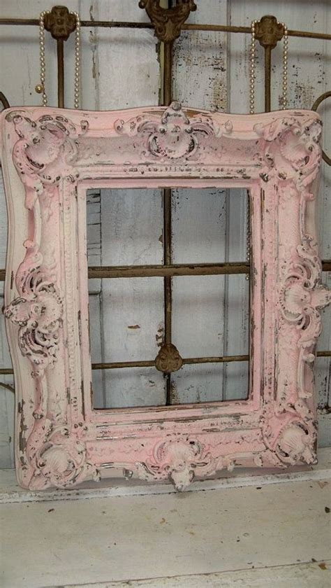 large pink cream frame shabby chic ornate wood distressed