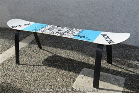 how to make a ski bench recycled snowboard ideas recycled things