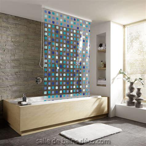 baignoire en mosaique rideau de baignoire store mosaique bleu