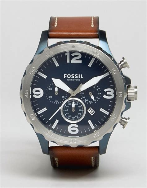 Fossil Jr1504 Nate Chronograph fossil fossil jr1504 nate chronograph leather in