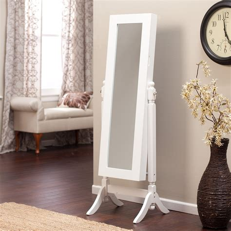 stand alone jewelry armoire decor white stand alone mirrored jewelry armoire
