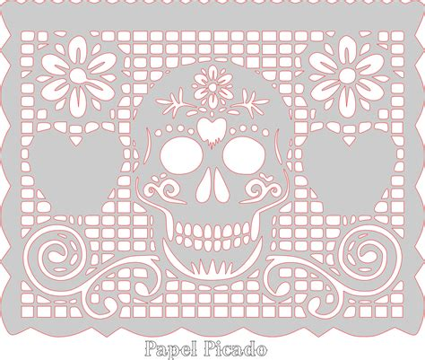 Sugar Skull Papel Picado Pattern Template Scrollsawpatternandprojects Party Idea Pinterest Free Printable Papel Picado Template