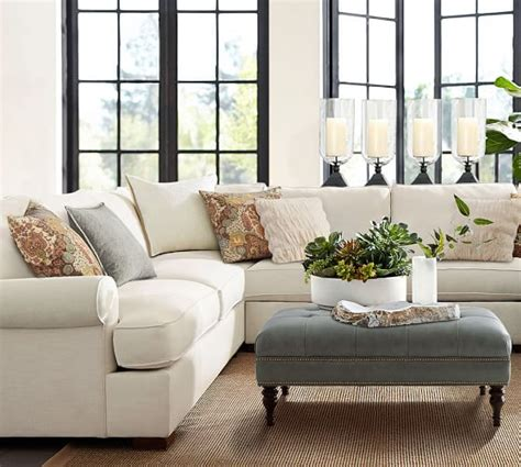 pottery barn townsend sofa townsend roll arm upholstered 4 piece sectional with
