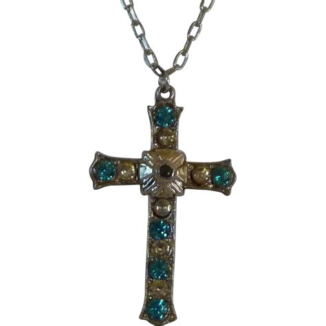 Murah Necklace Kalung Silver Cross aqua rhinestone silver tone cross pendant necklace from dobiesdelights on ruby