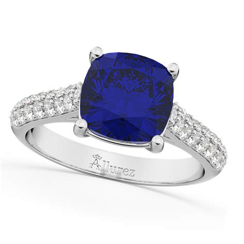 Blue Sapphire 4 75 Ct cushion cut blue sapphire ring 14k white gold 4