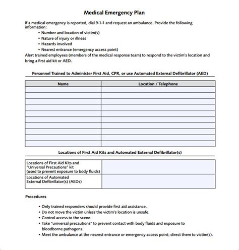 emergency response card template emergency plan template 15 free word excel pdf