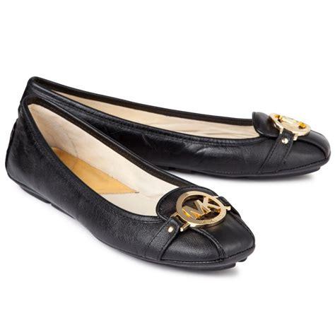Mk Fulton Flats Black Shw lyst michael michael kors fulton saffiano leather ballet flats in black