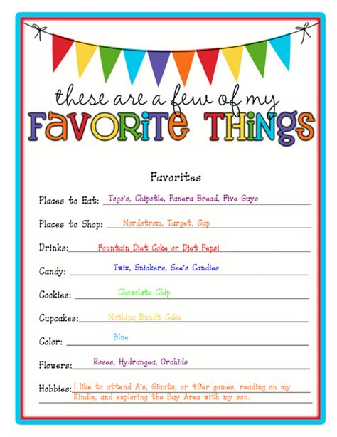 favorite things list template about ms hickey ms hickey