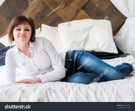 ukrainian women in bed russian girl white blouse posing on stock photo 457263154