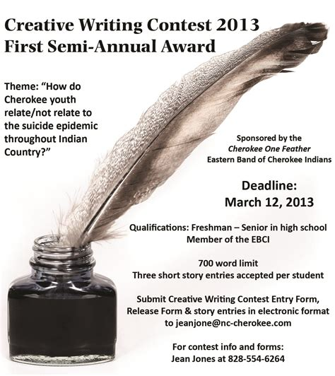 Creative Writing Essay Contest by One Feather Creative Writing Contest Flyer The One Feather