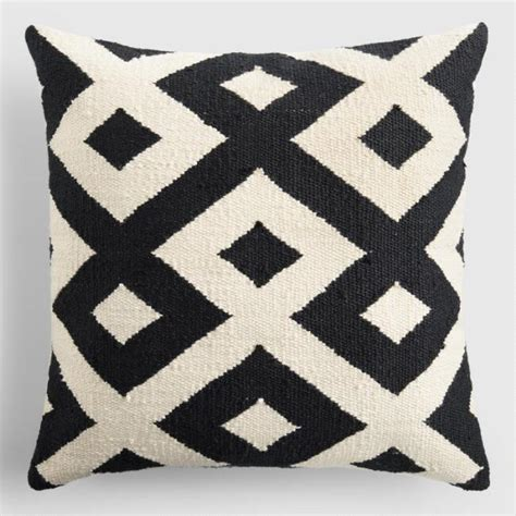 Black Outdoor Throw Pillows by Black And Ivory Geometric Indoor Outdoor Throw Pillow