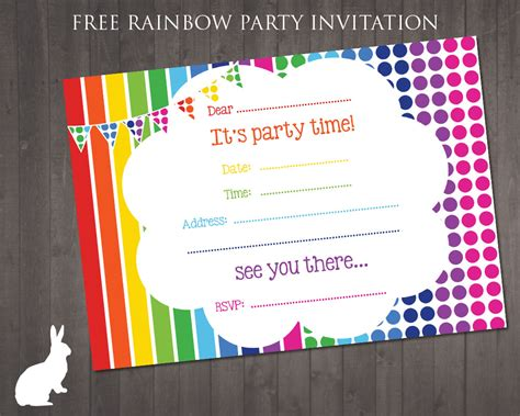 printable paper invitations free rainbow party invitation free party invitations by