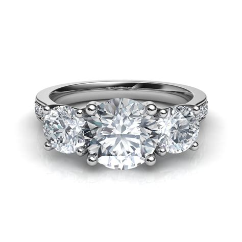 3 Engagement Ring by Three Trellis Engagement Ring With Pave Diamonds