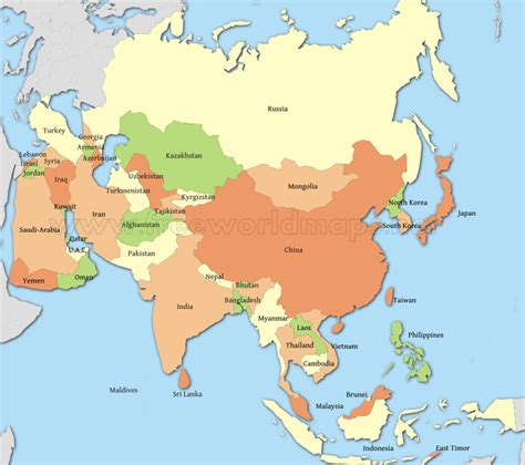 countries map map of asian countries travel map travelquaz