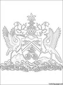 Trinidad And Tobago Coat Of Arms Coloring Page Pages Sketch Template