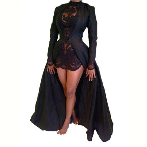 2017 new fashion lace dress two black sleeve vintage dress chiffon