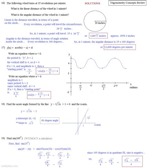 Trigonometry Review Worksheet by Trigonometry Review And Vector Addition Worksheet Answers