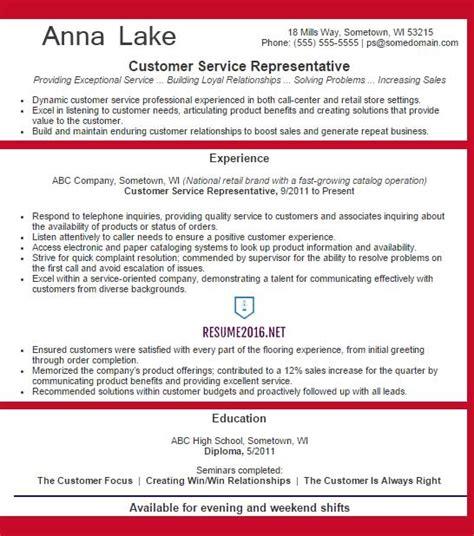customer service representative cv template customer service representative resume exle 2016
