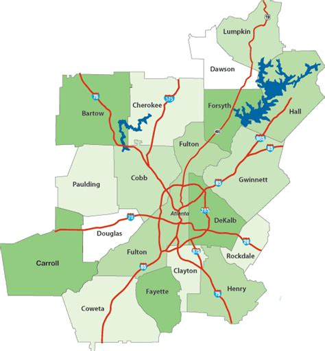 Atlanta Counties Map by Atlanta Metro County Map Information By County Travel
