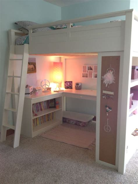 girls loft bed with desk girl s loft bed great space saver girls rooms