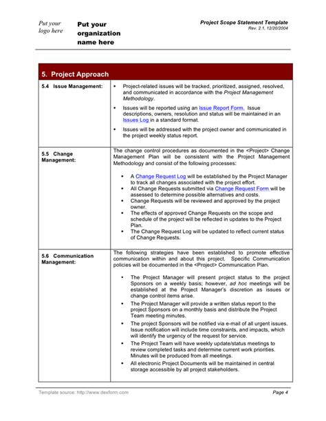 Project Scope Statement Template In Word And Pdf Formats Page 4 Of 6 Scope Statement Template