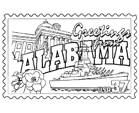 Alabama State St Coloring Page State Sts Pinterest Alabama Football Coloring Pages