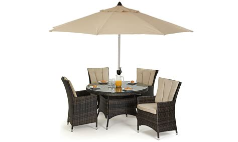 table parasol margarita 120cm table 4 chairs with lazy susan free parasol brown rattan garden