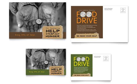 Post Card Template Drive by Food Drive Fundraiser Postcard Template Word