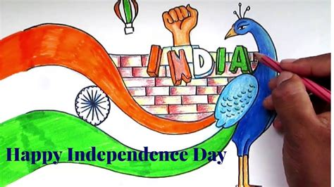 drawing themes for independence day creative drawing happy independence day for kids youtube