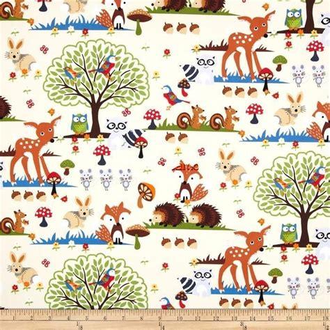 Fish Print Upholstery Fabric Woodland Scene Forest Animals Fox Hedgehog Deer Cotton