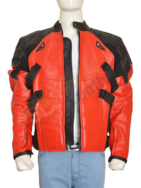 red and black motorcycle jacket deadpool costume red and black biker leather jacket