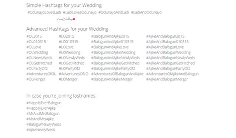 Wedding Name Hashtag Generator by Wedding Hashtag Wall Loveweddingsng Odunladi2015