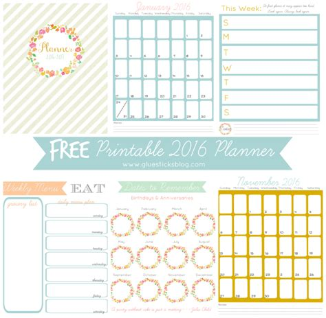 printable planner pages 2016 free printable 2016 planner gluesticks