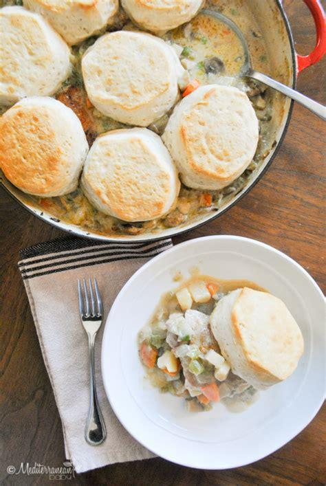 easy skillet chicken pot pie  biscuits mediterranean