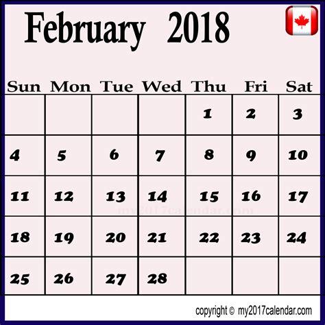 Calendar 2018 February Festival 2018 Calendar February Canada Printable Monthly