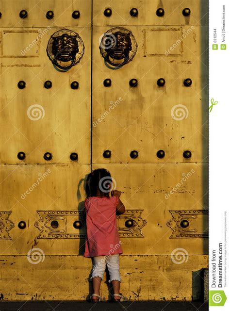 Child Doors by The Child In Front Of The Door Stock Images Image 6312544