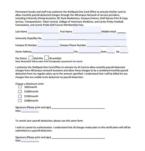 employee deduction form template sle payroll deduction form 10 free documents